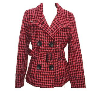 NWT GUESS Red Black Houndstooth Wool Peacoat